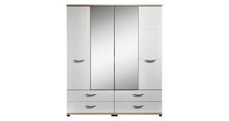 Quito 4 Door Mirror Robe with Drawers