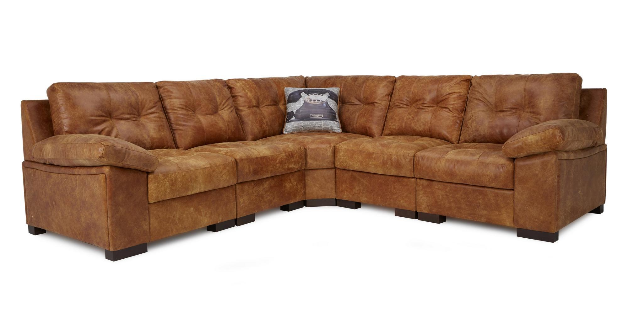 Dfs Rafael Ranch Brown Natural Leather Modular Corner Sofa