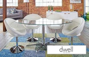 Retra Stellar Base Glass Dining Table & Set of 4 Retro Circles Chairs Glass and Chrome