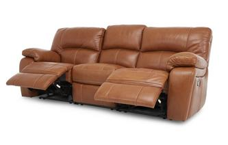 Leather and Leather Look 3 Seater Manual Triple Recliner Brazil Contrast with Leather Look Fabric