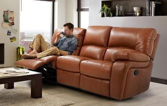 Reward Leather and Leather Look 3 Seater Manual Triple Recliner Brazil Contrast with Leather Look Fabric