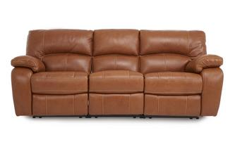 Leather 3 Seater Electric Triple Recliner Brazil Contrast