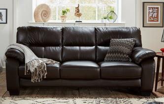 Rhythm Leather and Leather Look 3 Seater Sofa Premium
