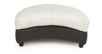 Ripple Leather and Leather Look Half Moon Footstool