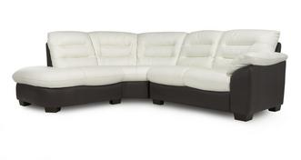 Ripple Leather and Leather Look Right Arm Facing 2 Piece Corner Sofa