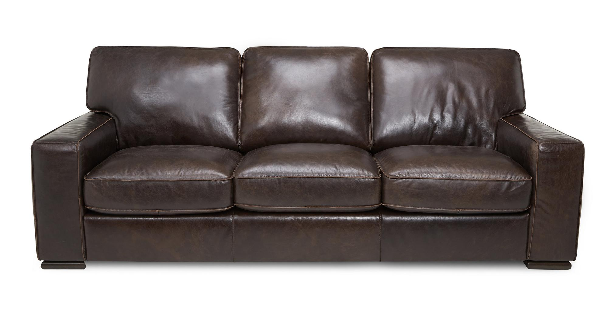 Dfs Rome Brown Natural 100 Leather 3 Seater Sofa Ebay