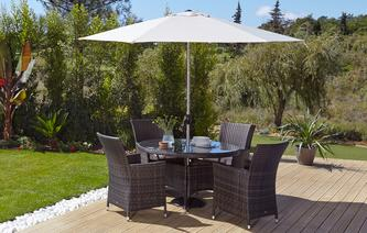Roseville Table & 4 Chairs with Parasol & Base PU Rattan