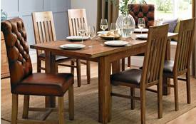 Rothko Small Extending Table & Set of 4 Slat Back Chairs Sheesham Wood