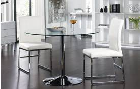 Salerno Palermo Round Dining Table Large & Set of 2 Loop Leg Chairs Glass and Chrome