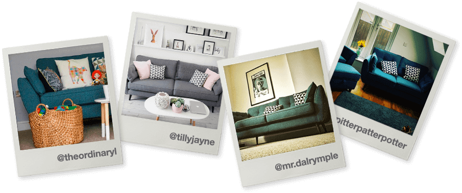 polaroids of DFS sofas