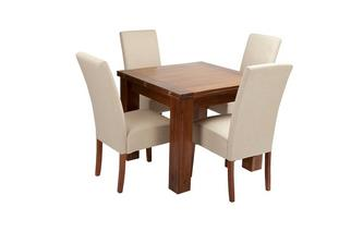 Flip Top Table & Set of 4 Tunis Dark Leg Chairs Shiraz Acacia