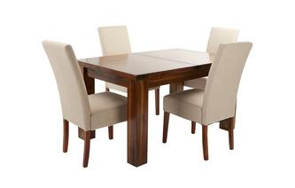 Large Extending Dining Table & Set of 4 Tunis Dark Leg Chairs Shiraz Acacia