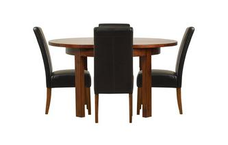 Round Extending Table & Set of 4 Ariana Dark Leg Chairs Shiraz Acacia