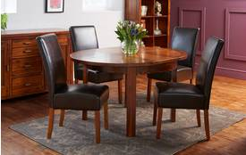 Shiraz Circular Round Extending Table & Set of 4 Ariana Dark Leg Chairs Shiraz Acacia