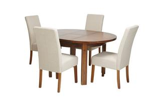 Round Extending Table & Set of 4 Tunis Dark Leg Chairs