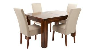 Shiraz Small Extending Dining Table & Set of 4 Tunis Dark Leg Chairs