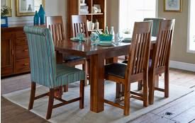 Shiraz Small Extending Dining Table & Set of 4 Slat Back Chairs Shiraz Acacia