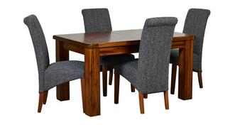 Shiraz Small Extending Dining Table & Set of 4 Shiraz Upholstered Chairs