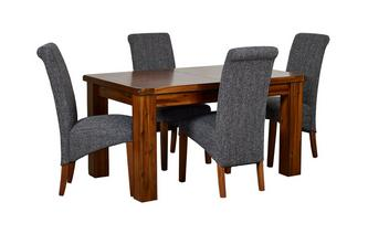 Small Extending Dining Table & Set of 4 Shiraz Upholstered Chairs