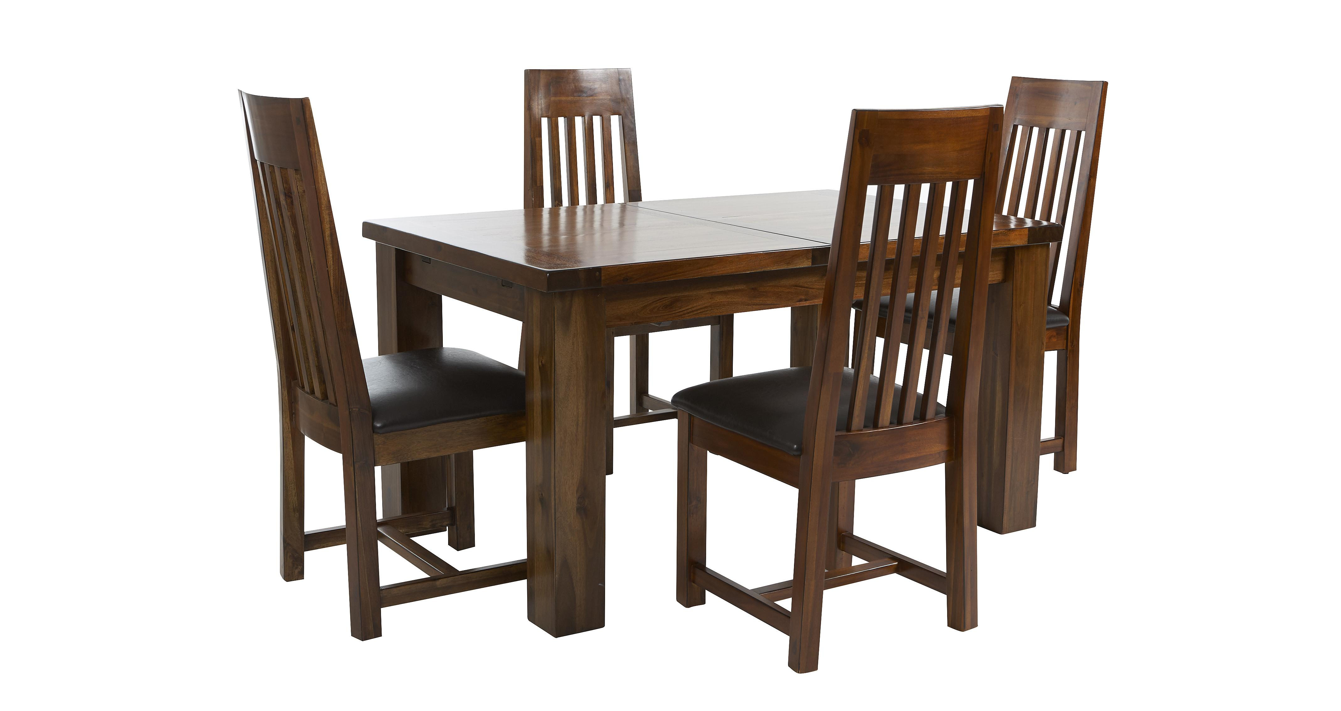 Shiraz small extending dining table set of 4 slat back for Small dining table set for 4