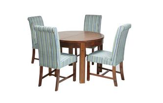Round Extending Dining Table & Set of 4 Shiraz Upholstered Chairs Shiraz Acacia