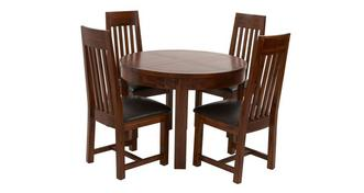 Shiraz Round Extending Dining Table & Set of 4 Slat Back Chairs