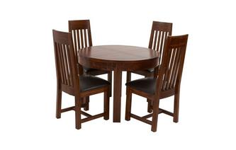 Round Extending Dining Table & Set of 4 Slat Back Chairs Shiraz Acacia
