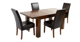 Shiraz Small Extending Dining Table & Set of 4 Ariana Dark Leg Chairs