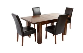 Small Extending Dining Table & Set of 4 Ariana Dark Leg Chairs Shiraz Acacia