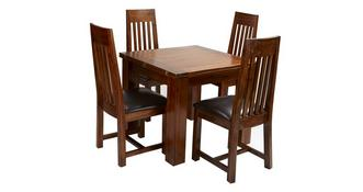 Shiraz Flip Top Table & Set of 4 Slat Back Chairs