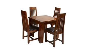 Flip Top Table & Set of 4 Slat Back Chairs Shiraz Acacia