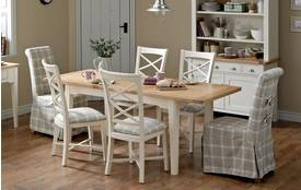 Shore Rectangular Small Extending Dining Table and Set of 4 Cross Back Chairs Shore