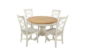Round Extending Table and Set of 4 Cross Back Chairs Shore Chairs