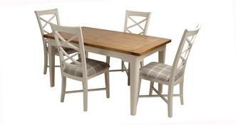 Shore Small Extending Dining Table and Set of 4 Cross Back Chairs