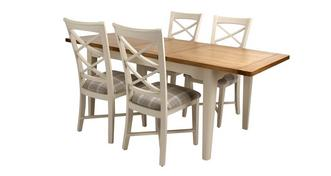 Shore Large Extending Dining Table and 4 Cross Back Chairs