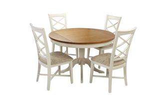 Round Table and Set of 4 Cross Back Chairs Shore Chairs