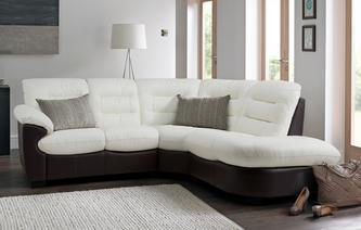 Skyline Leather and Leather Look Right Arm Facing 2 Piece Corner Sofa Essential