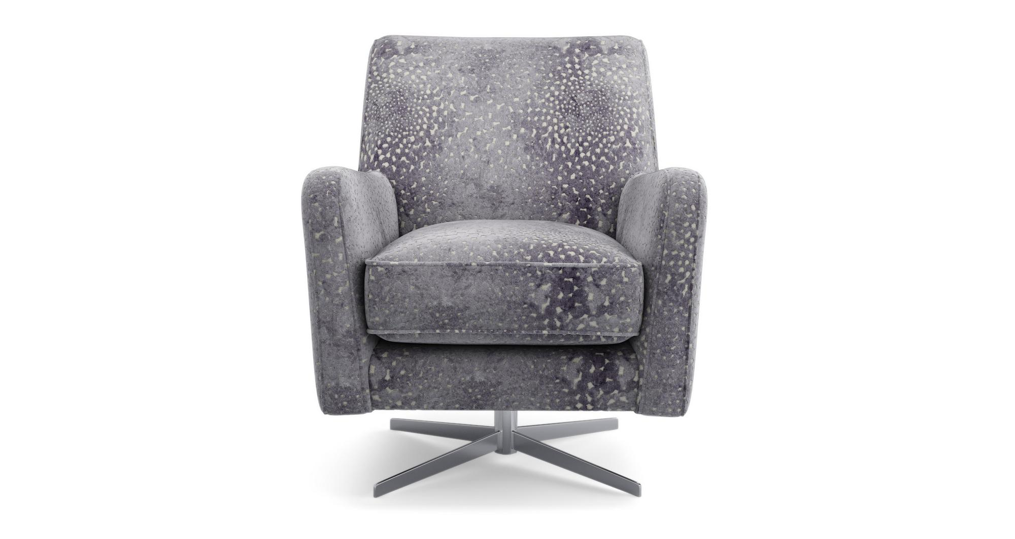 Dfs Sophia Grey Combination Fabric Accent Swivel Chair Ebay