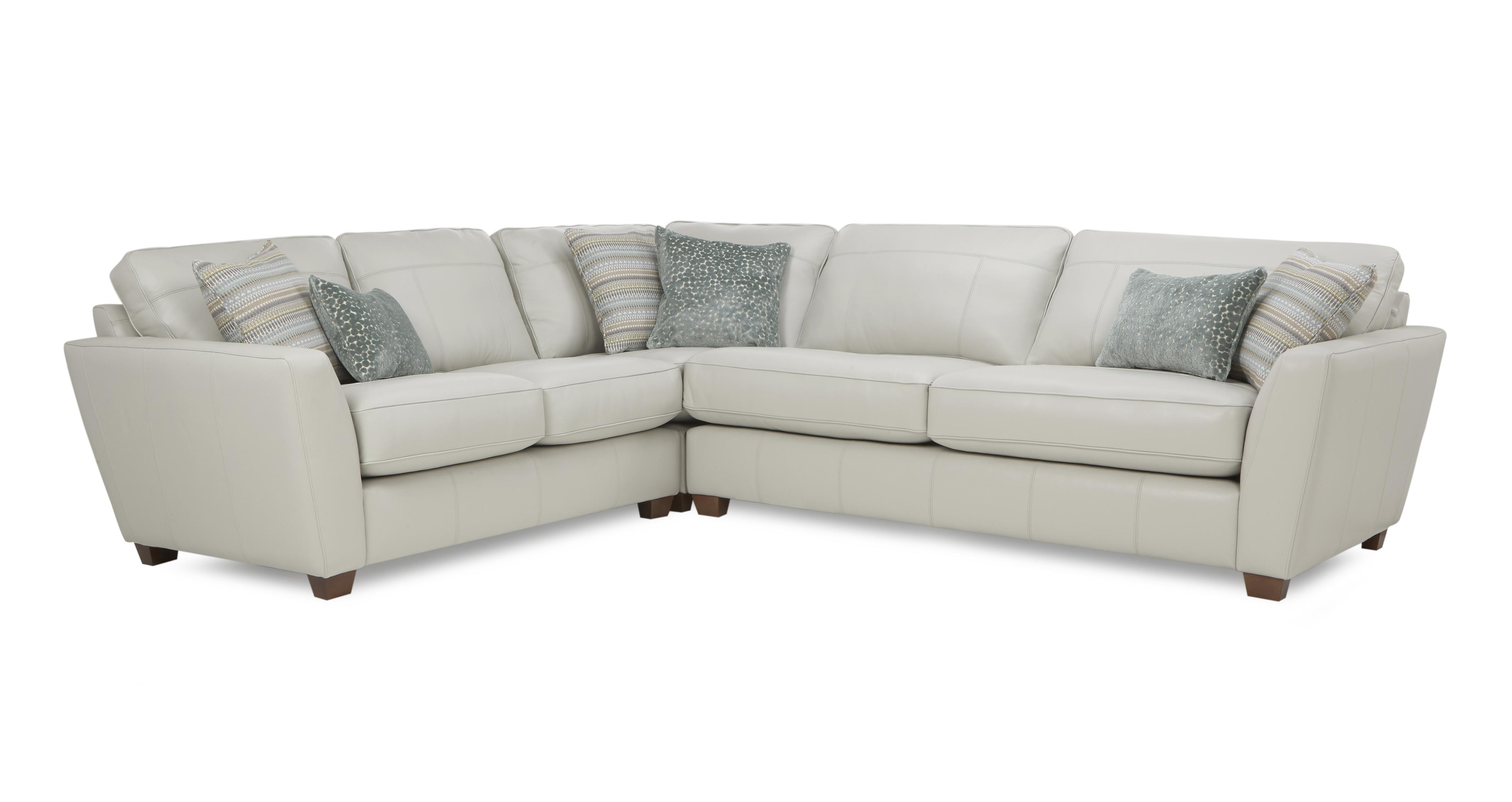 Sophia Leather Right Hand Facing 3 Seater Corner Group DFS