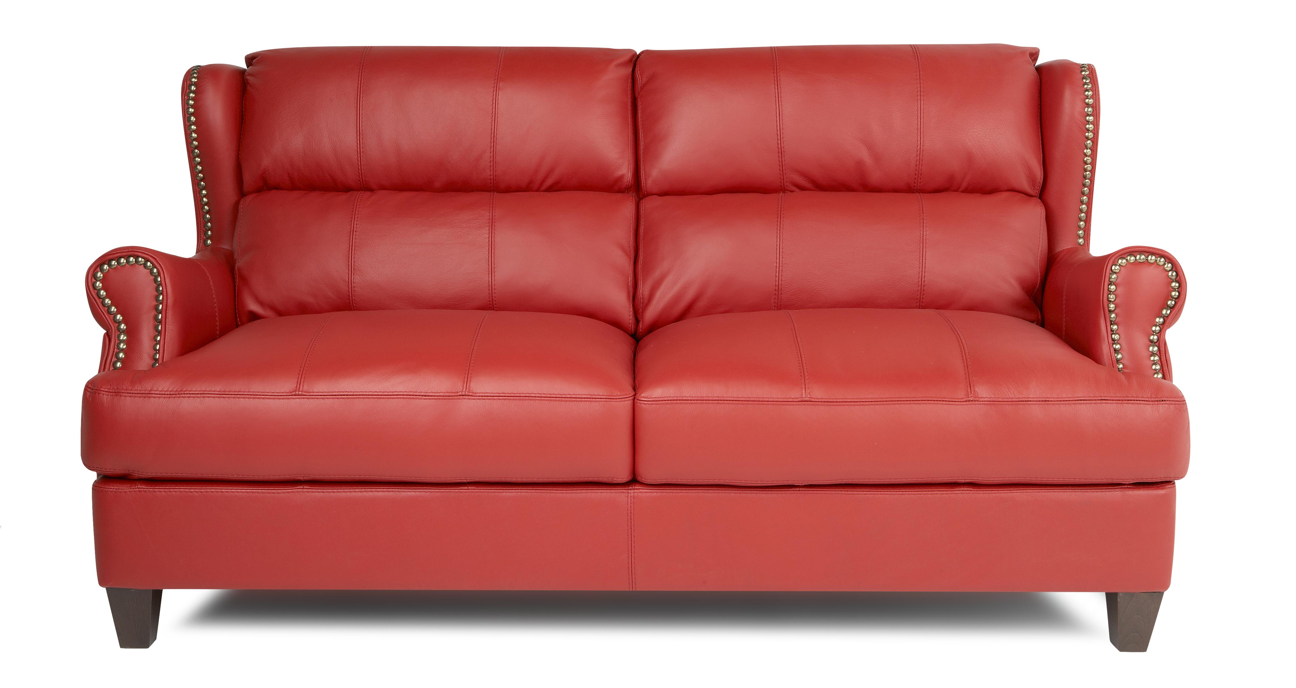 DFS SQUIRE SUITE ENZO RED LEATHER SETTEE 3 SEATER SOFA EBay