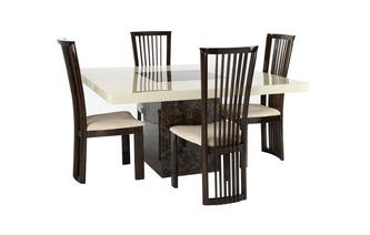 Square Table and 4 Salvadore Chairs Strasbourg Marble