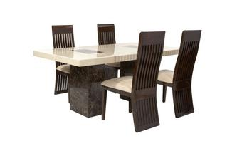 Rectangular Fixed Table and 4 Lima Chairs Strasbourg Marble