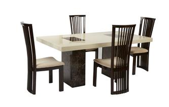 Rectangular Table and 4 Salvadore Chairs Strasbourg Marble