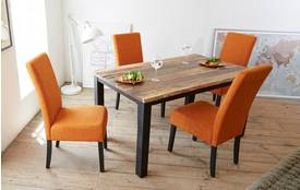 Strident Fixed Compact Table & Set of 4 Upholstered Chairs Strident