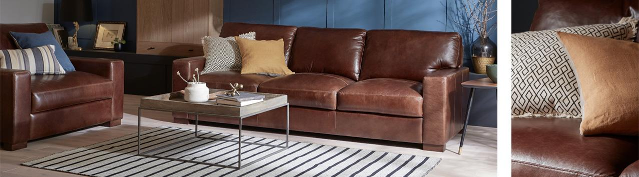 Brown Tan Leather Sofa