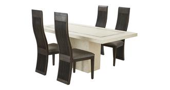 Taverna Fixed Dining Table & Set of 4 Nazca Chairs