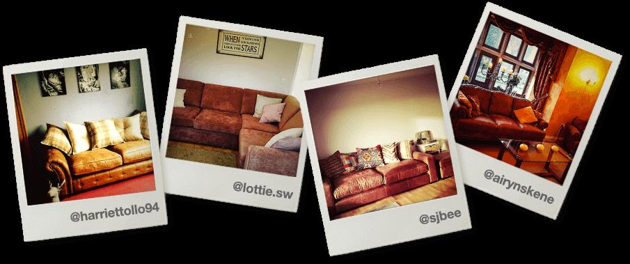 polaroids of DFS sofas