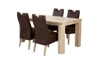 Large Fixed Table and 4 Zardos Chairs Tigre Oak