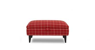 Tranquil Plain Check Banquette Storage Footstool