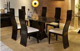 Trattoria Fixed Rectangular Table and 4 Tulsa Chairs Trattoria Marble